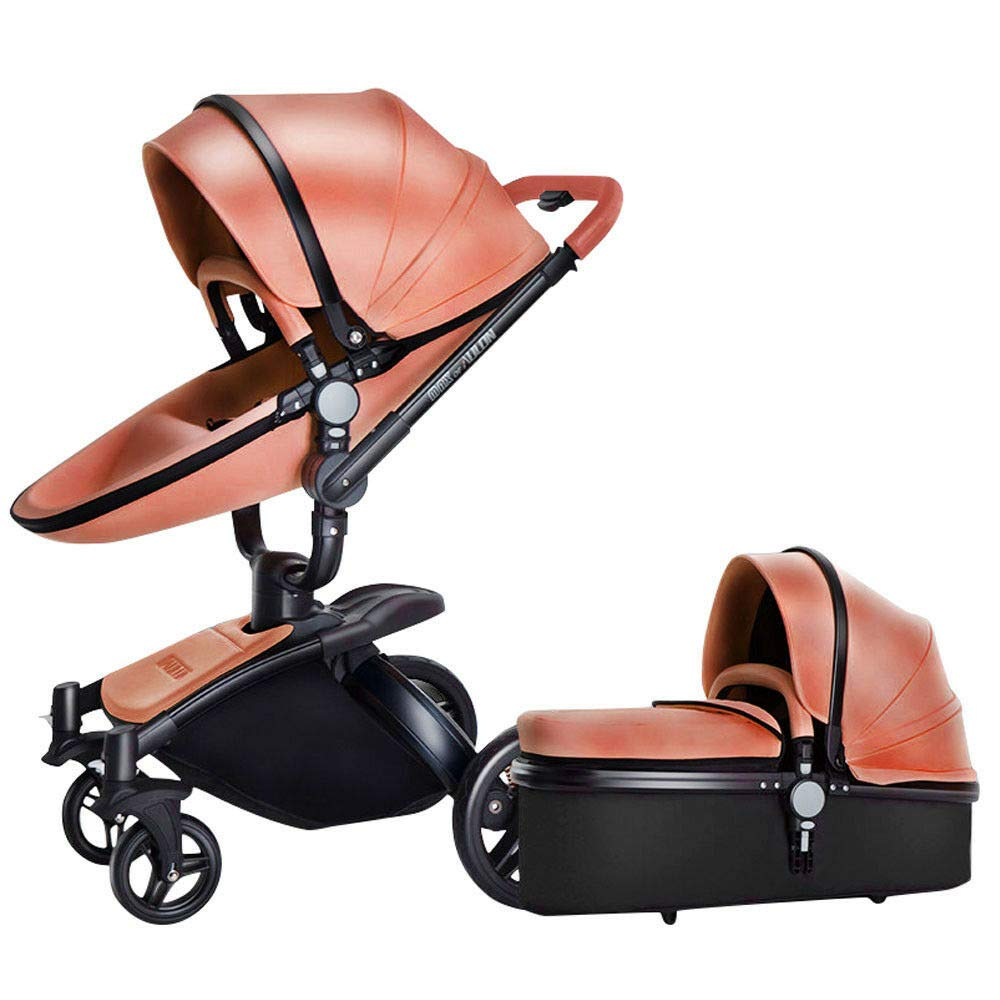 LZTET 2 in 1 Baby Stroller High Landscape Two-Way Buggy Portable Folded Pushchair Newborn Birthday Present for 0-3 Years Old with 360° Rotating Seat + Sleeping Basket,Orange