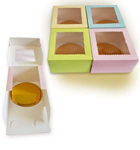 CooKeezz Couture - Cake Boxes - Colored Window Bakery Box Auto Popup Great for Your Goodies , Cupcake - Assorted 12 Pack Boxes in 4 Decorated Pastel Colors Also Included with 12 Round Cake Boards. (8x8x5)