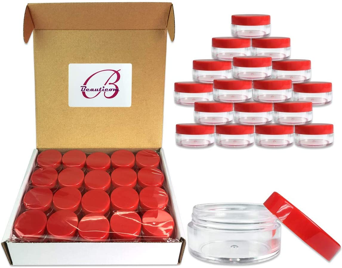 (Quantity: 40 Pieces) Beauticom 10G/10ML Round Clear Jars with RED Lids for Beads, Gems, Glitter, Charms, Small Arts and Crafts Items - BPA Free [並行輸入品]