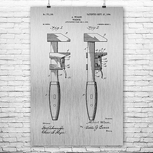 """Pipe Wrench Poster Art Print, Plumber Gift, Pipe Fitter, Workshop, Repairman, Construction Worker, Vintage Tools Brushed Steel (8"""" x 10"""") from Patent Earth"""