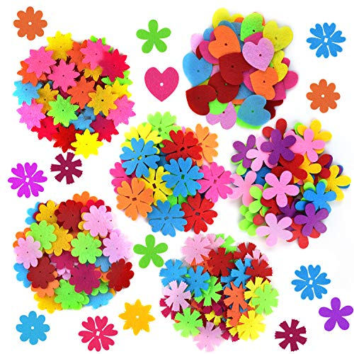 Coopay 250 Pieces Felt Flowers Fabric Flower Embellishments Assorted Colors for DIY -