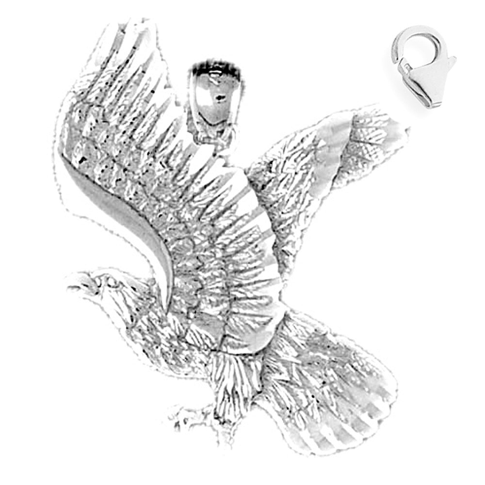JewelsObsession Sterling Silver 37mm Eagle Charm w//Lobster Clasp