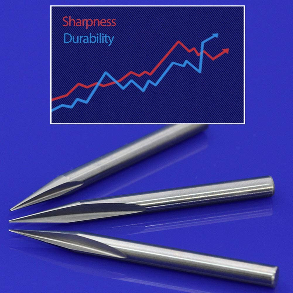 HUHAO Straight 45 Degree V Groove Engraving Tool Carbide CNC Router Bits 1//8 Inch Shank 0.1mm Tip 5PCS