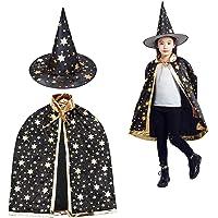 Toveraarskostuum voor kinderen, halloweenkostuum, tovermantel met hoed, heksenmantel, sterren, cape, toverhoed voor…