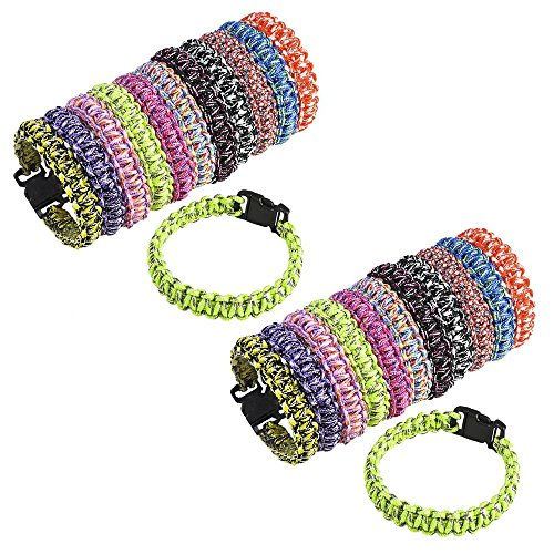 """Shop Zoombie 24 Pack Paracord Bracelet Woven 8.5"""" - Camps, Prizes, Retreats, Goody Bags, Treasure Boxes, Youth Events"""