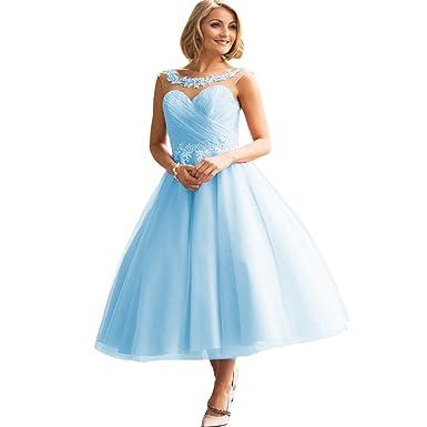 PromQueen Women\'s Prom Dresses Tea Length Lace Appliques Evening ...