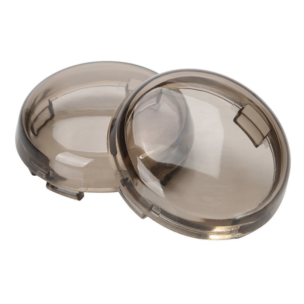 Onmi Smoked Turn Signal Lens Covers Lenses for Harley-Davidson Pack of 2