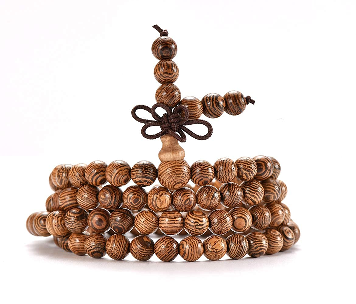 anzhongli Mala Beads Bracelet Necklace for Men Women 6mm 108 Prayer Beads for Meditation Yoga 6mm Natural Wood Beads Elastic Cord