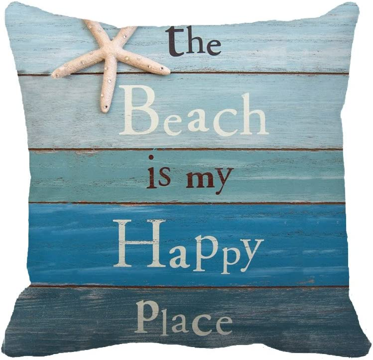 "The Beach is My Happy Place Throw Pillow Case Cushion Cover Decorative 18"" x 18""(Starfish and Rhinestone)"