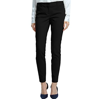 SATINATO Women's Straight Pants Stretch Slim Skinny Solid Trousers Casual Business Office at Women's Clothing store