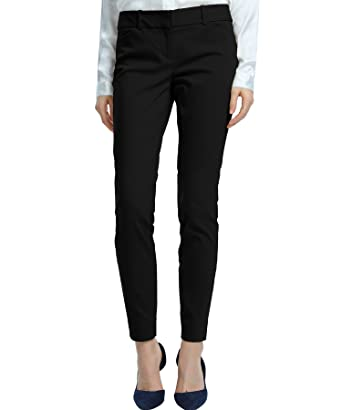 ae8774144f1 SATINATO Women s Straight Pants Stretch Slim Skinny Solid Trousers Casual  Business Office Black