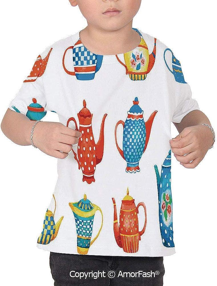 Tea Party Distinctive Childrens Premium Polyester T-Shirt,XS-2XL,Colorful Teapo