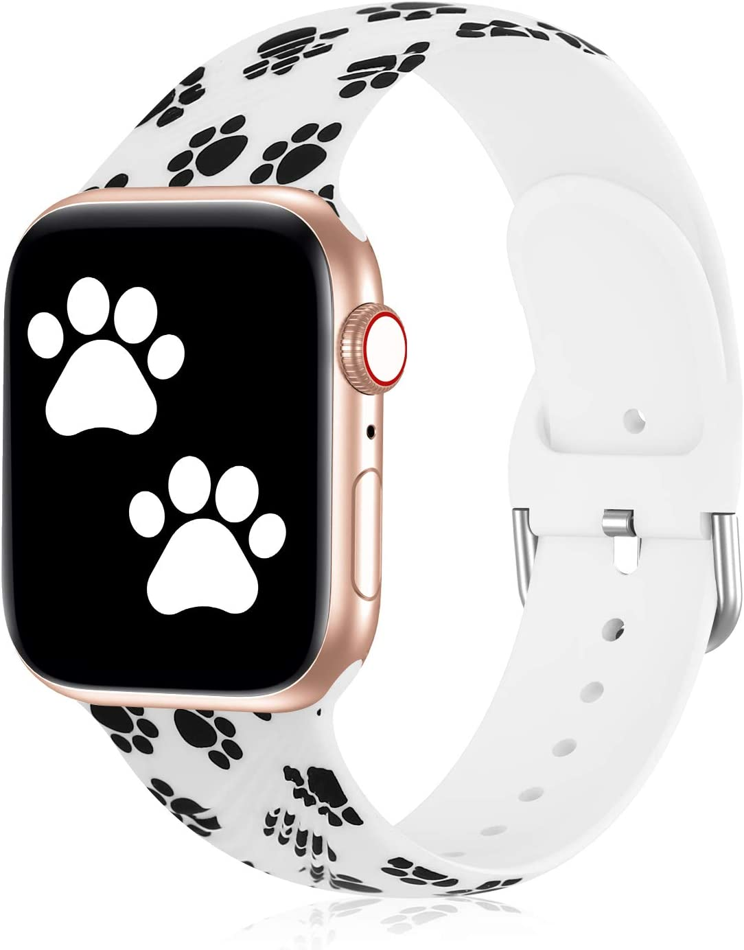 Seizehe Compatible with Apple Watch Band 38mm 40mm 42mm 44mm Series 3 Series 5, Silicone Floral Pattern iWatch Bands 38mm 40mm 42mm 44mm Womens Compatible for iWatch SE Series 6 5 4 3 2 1