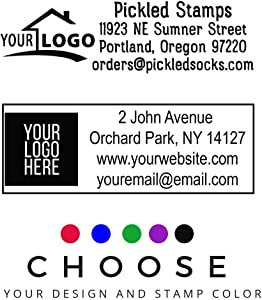 10+ Designs !! Large Logo Self-Inking Stamp 3 Lines or 4 Lines for Your Address, Website Phone Number Stamp or Message Black Ink Stamper/Black Red Blue Green Purple Ink Logo Stamp