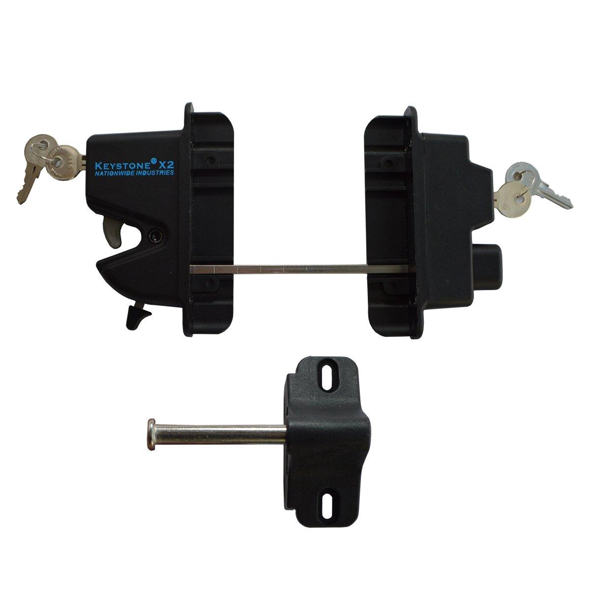 Nationwide Industries Black Nylon Polymer Keystone X2 External Gate Latch With External Access   Keyed Alike   KLX2-P2-BK-KA