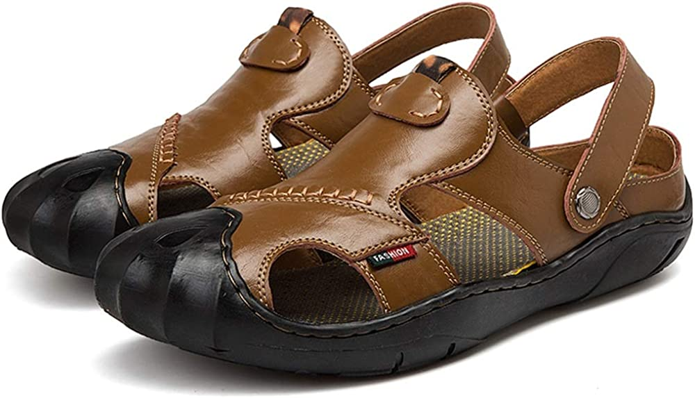 PU Leather Lightweight Breathable Anti-Slip Flat Leisure Slippers Waterproof Collision Avoidance Round Close Toe Buckle Mens Classic Summer Beach Casual Sandals HHF Flat Sandals /& Slippers