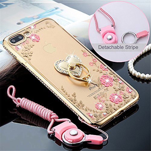 DRUnKQUEEn iPhone 8 Plus Case, iPhone 7 Plus Case, Deluxe Edition Rhinestones Soft Cases with Ring Holders & Hand Straps for iPhone 7Plus 8Plus