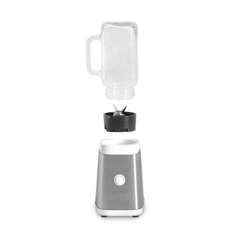 Máquina para preparar smoothies 350W, Mason Jar, mini batidora de acero/ Licuadora en blanco/verde/naranja de acero con botella de tritán (0,6 l) y 2 vasos ...
