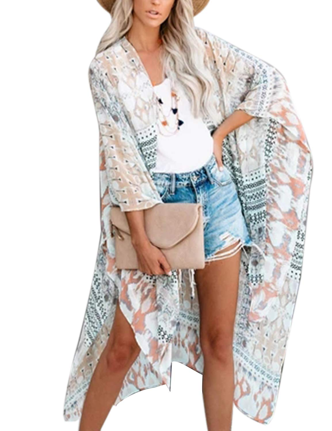Women's Open Front Top Sexy Floral Kimono Sleeve Oversized Cover Ups