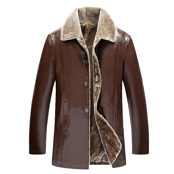 Abrigo Para Hombre Chaqueta de PU Piel de Terciopelo Forrado Grueso Outwear para Invierno: Amazon.es: Ropa y accesorios