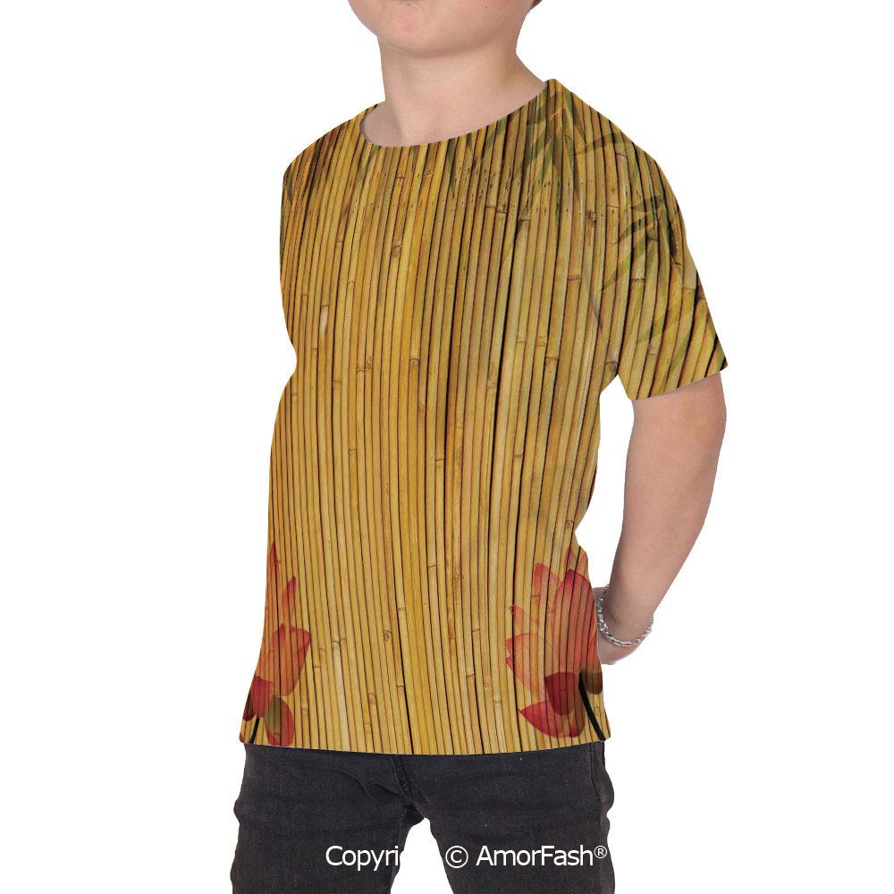 Bamboo Boys and Girls All Over Print T-Shirt,Crew Neck T-Shirt,Lined Up Bamboo S