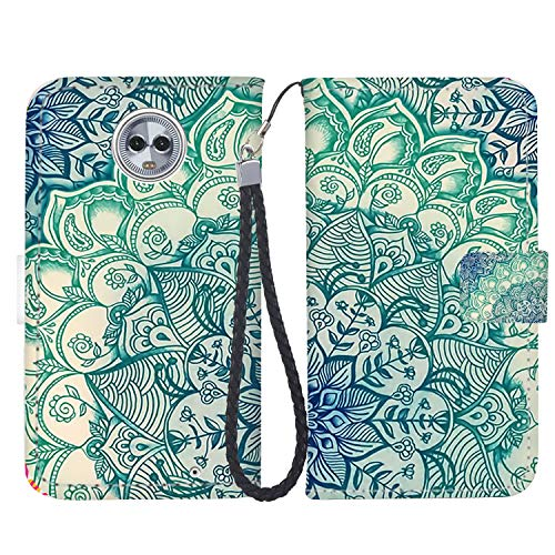 (Moto G6 Case, Moto G6 Wallet Case, Fashion PU Leather Magnetic Folio Wallet Case [Wrist Strap] with ID&Credit Card Slots and Kickstand for Motorola G6 (5.7 Inch) - Mandala)