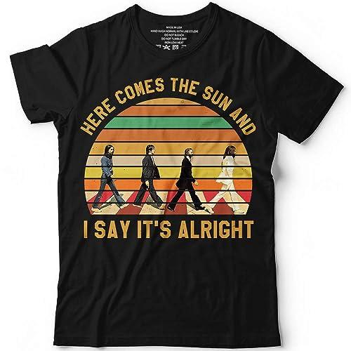 3f3a6187afb2 Amazon.com  Vintage The Beatles Here Comes The Sun Handmade T-shirt Hoodie Sweater Long  Sleeve Tank Top Premium T-shirt  Handmade