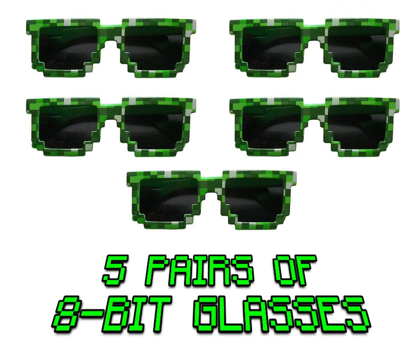 Wristbands Gypsy Jades Pixel Style Party Favors Great for Mine Crafter 5 Pack Includes 8-Bit Pixelated Glasses Balloons /& More! Jade/'s Enterprises Building and Crafting Style Games and Video Games