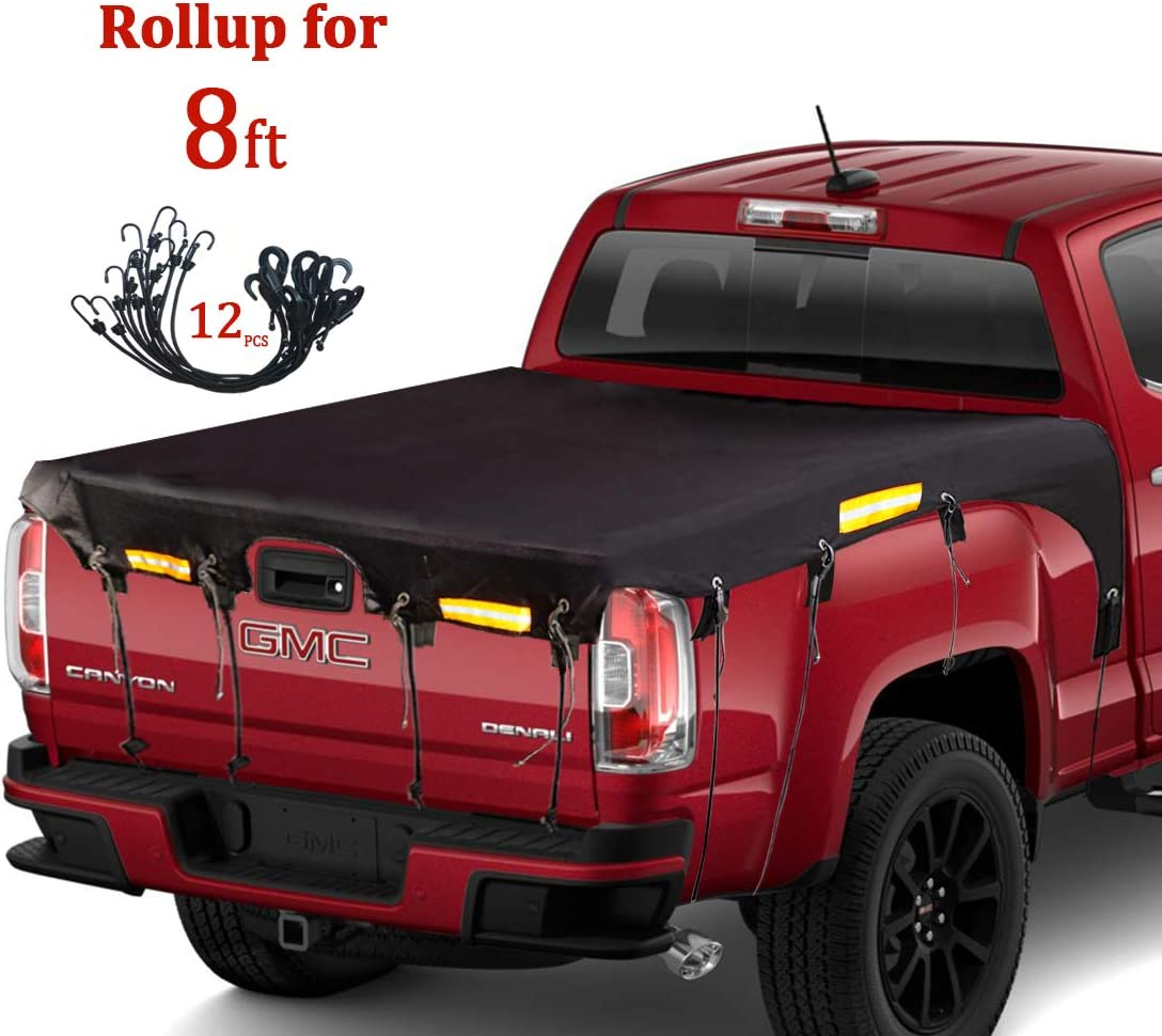 for Ford F150//F250//F350//F450 Chevy Silverado GMC Sierra Dodge Ram Toyota Tundra Truck Bed Tarp Super Duty Cargo Net Coverify Truck Bed Cover Long Bed 8/′ Box