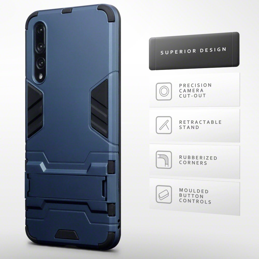 TERRAPIN Coque Huawei P20 Pro Bleu Fonc/é Double Couche /Étui Rigide avec Fonction Stand pour Huawei P20 Pro /Étui