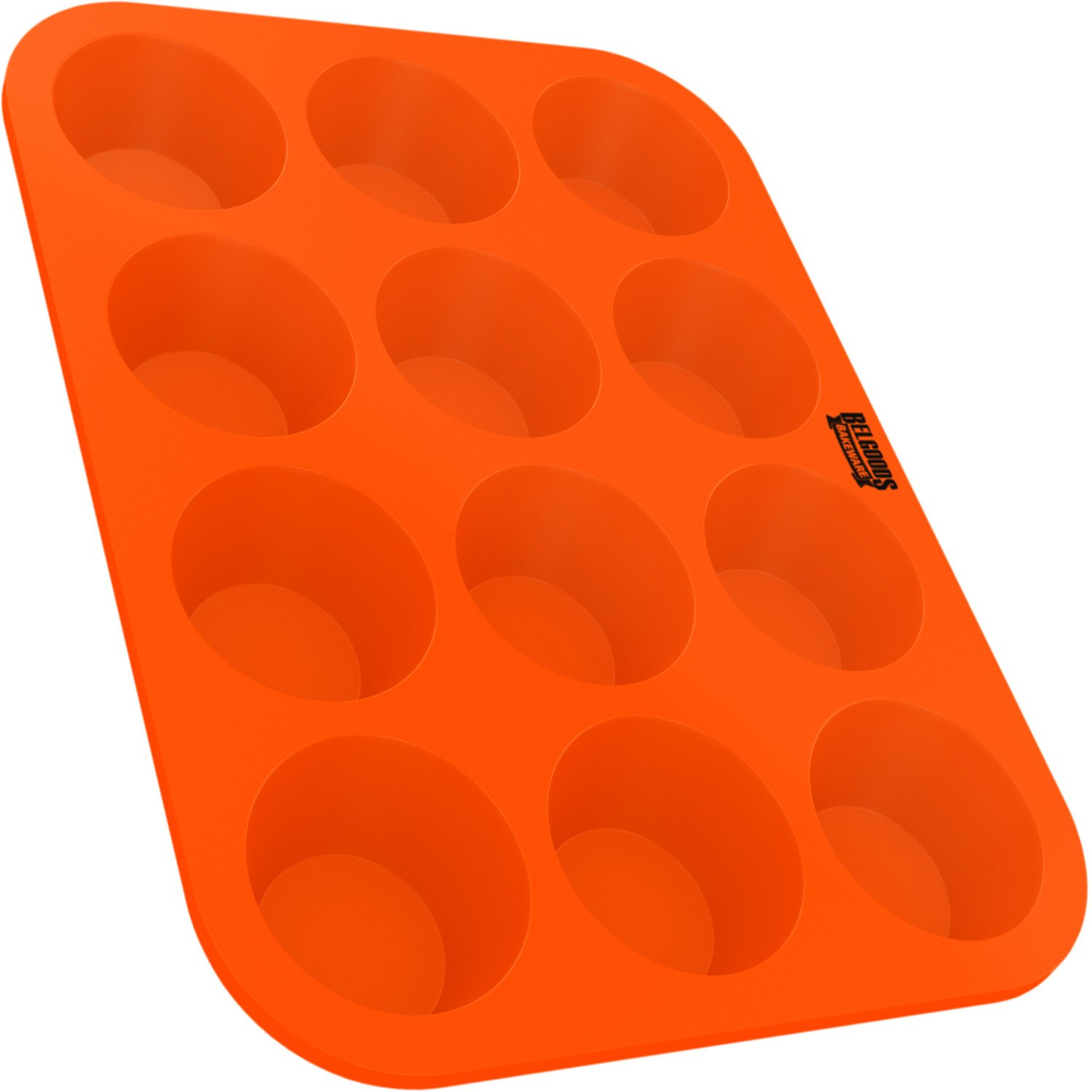 Silicone Muffin Cupcake Baking Pan Tray - Standard Size - 12 Cups - 100% Pure Food Grade Non-Stick Silicone - Orange - Bake Like a Professional