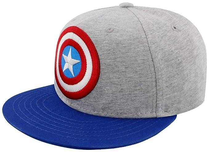 Capitán América Shield Logo Snapback Cap gris Azul Azul Marino ... bf391ddf614