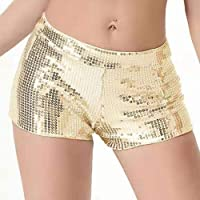 JUST BEHAVIOR Sequin Shimmer Sexy Rave Booty Shorts Hot Club Party Metallic Shorts for Women