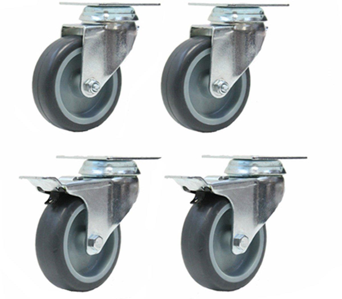 Ensemble de quatre roulettes en caoutchouc gris 2 roues pivotantes et 2 freiné es Unbranded