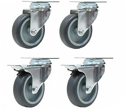 75 mm giratorio ruedas de goma con freno, muebles de alta resistencia para uso juego