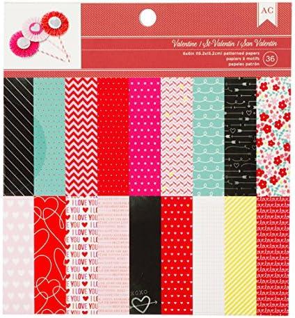American Crafts バレンタイン用紙パッド 6×6インチ