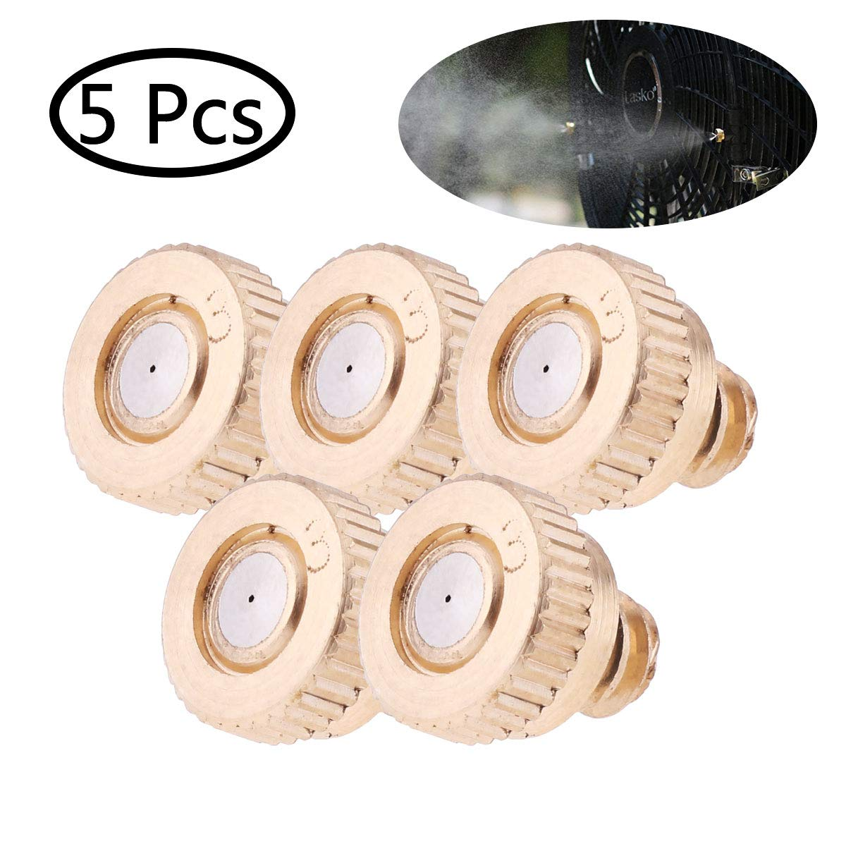 Freebily 5 Pack Brass Misting Nozzles Replacement Heads for Garden Patio Lawn Landscaping Dust Control and Outdoor Cooling System