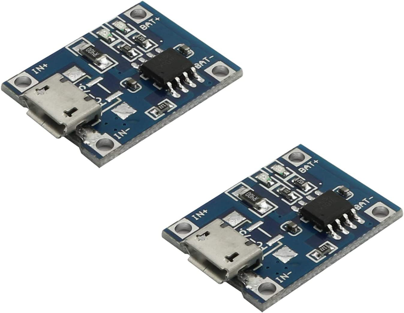 Maxmoral 2pcs TP4056 Lipo Battery Charging Board Micro USB Port Lithium Battery Charger Module 1A