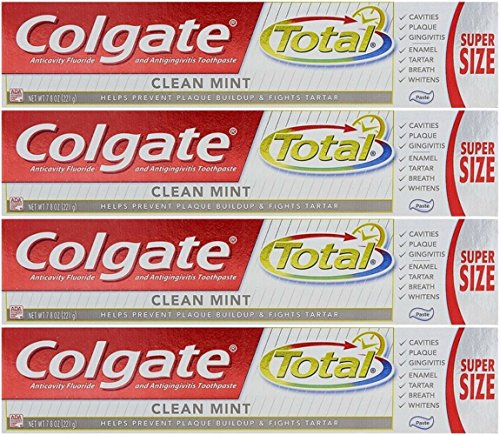 Colgate Total Fluoride Toothpaste, Clean Mint, 7.80 oz (Packs of 4)