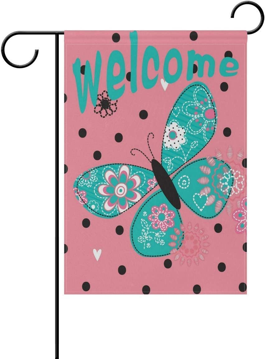 guang Welcome Garden Flag 12 X 18 Inches, Flower Butterfly Polka Dot Double Sided Outdoor Yard Yall Garden Flag for Wedding Party House Home Decor