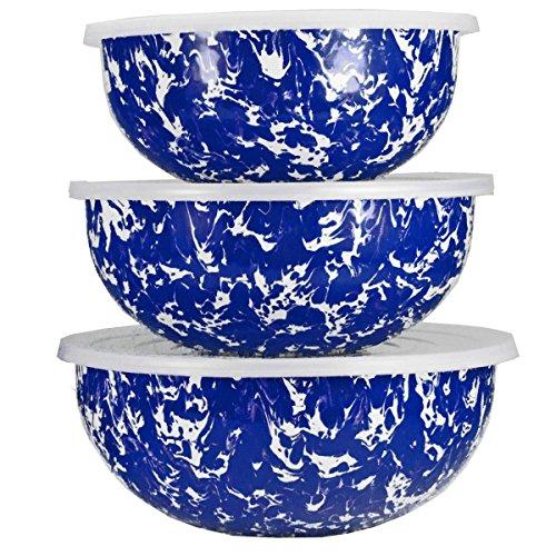 Golden Rabbit Enamelware - Cobalt Blue Swirl Pattern - Set of 3 Mixing Bowls with Lids Cobalt Blue Mixing Bowl