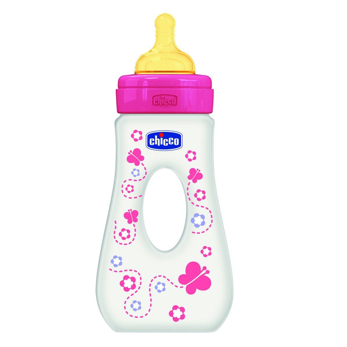 Chicco Wellbeing 240 ml Biber/ón de paseo con tetina de l/átex y flujo r/ápido para beb/é de 4 meses en adelante rosa