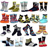 TeeHee Kids Boys Fashion Cotton Crew 18 Pair Pack Gift Box (3-5Y, Star and Camo)