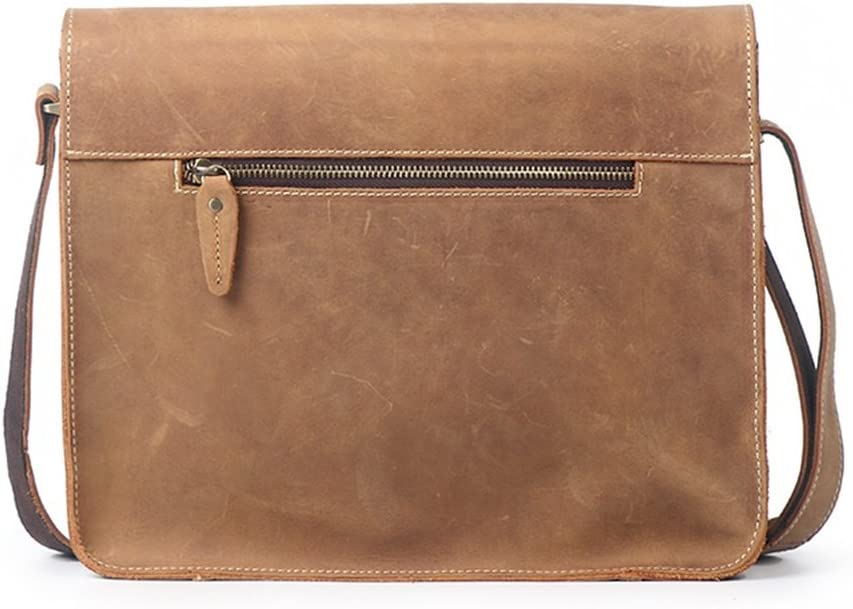 Color : Earth Yellow RPMDM Shoulder Messenger Bag Business Briefcase Casual Leather Bag Crossover Mens Tide Bag Retro Black Brown 31x10x24cm Business Briefcase