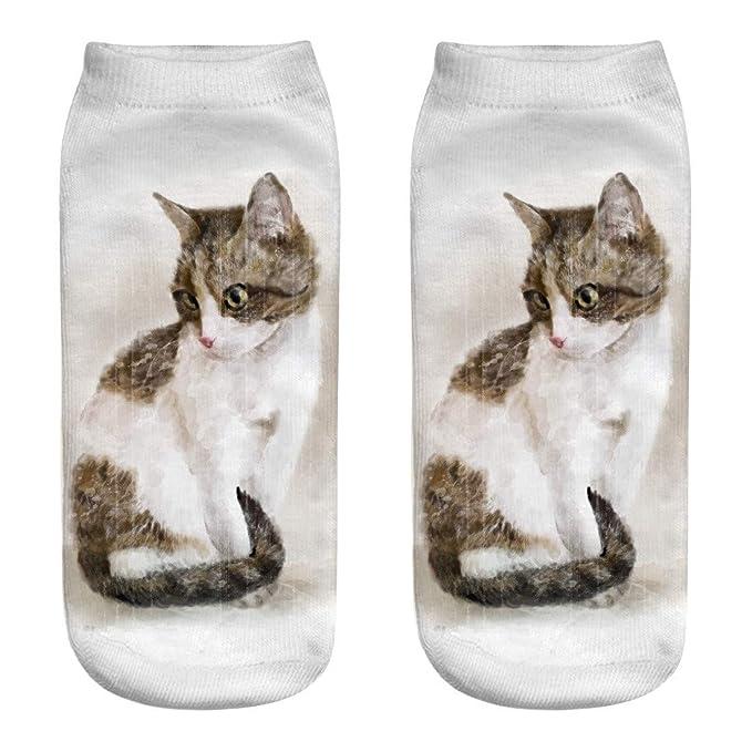 HCFKJ Calcetines Mujer El Gato Imprimió Los Calcetines Frescos Locos Sublimados 3D De Los Calcetines De La Novedad EláStico: Amazon.es: Ropa y accesorios