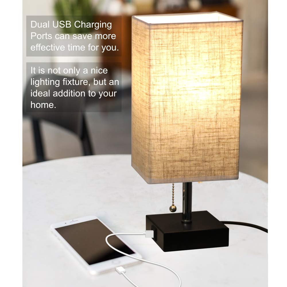 Focondot USB Table Lamp, Dual 2.1A USB Charging Port with Black Base and Fabric Shade, Nightstand Bedside Lamps Ideal for Bedroom, Living Room, Office by focondot (Image #2)