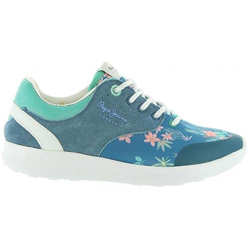Zapatillas Deporte de Mujer y Niña PEPE JEANS PGS30292 Amanda 548 Blue Print: Amazon.es: Zapatos y complementos