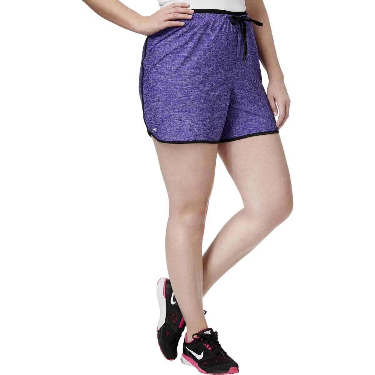 Ideology Womens Plus Fitness Heathered Shorts