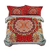 Wake In Cloud - Mandala Comforter Set Queen, 3-Piece Bohemian Boho chic Medallion Pattern Printed, Soft Microfiber Bedding (3pcs, Queen Size)
