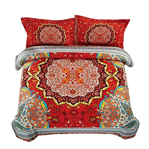ala Comforter Set, Bohemian Boho Chic Medallion Pattern Printed, Soft Microfiber Bedding (3pcs, Queen Size) ()